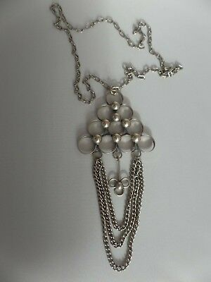 Mid Century MODERNIST Silver Necklace Unusual Design 1960s / 1970s