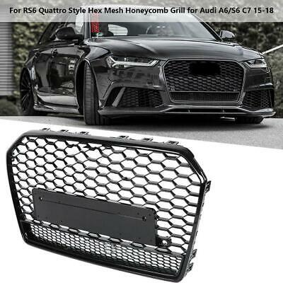 RS6 STYLE FRONT Bumper Grille Honeycomb Mesh w Quattro for