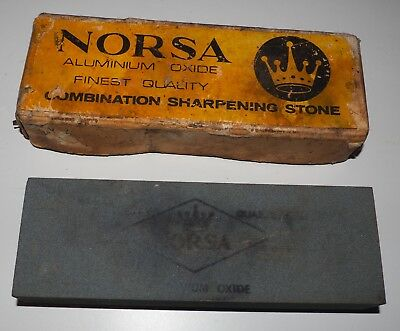"Vintage NORSA Aluminium Oxide Combination Sharpening Stone 6"" x 2"" x 1 ""- in box"