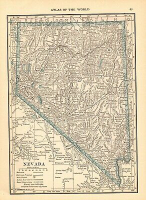 1916 Antique NEVADA State Map Original Vintage Map of Nevada smap 6519