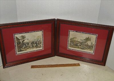Beautiful Pair Antique Framed and Matted French Military Prints France Militaire