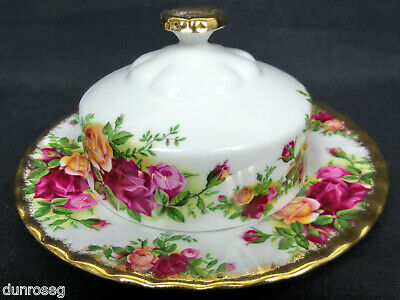 OLD COUNTRY ROSES LIDDED BUTTER DISH, 1st QUALITY, VGC, 1973-93, ROYAL ALBERT
