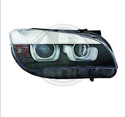 Coppia Fari Fanali Tuning Anteriori BMW X1 E84 2011-2014 Angel Eyes LED Neri H7