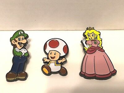 Lot of 3 Nintendo Super Mario Enamel Collector Pins Series 1 Luigi Toad Peach