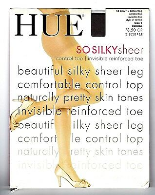 a1c0440d158 HUE So Silky Sheer Control Top w Invisible RFT Pantyhose Size 1 Cocoa 12 d.