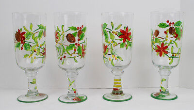 Hand Painted Holiday Glasses Mistletoe Berries Poinsettia Set of Four Christmas