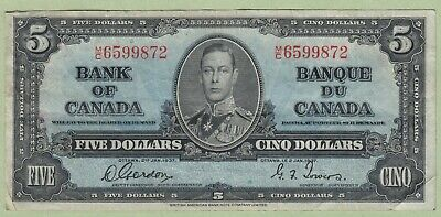 1937 Bank of Canada 5 Dollar Note - Gordon/Towers - M/C6599872 - Fine