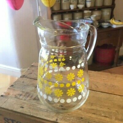 Vintage Colourful Glass Water / Juice / Cocktail Jug – Yellow Flowers – Great! –