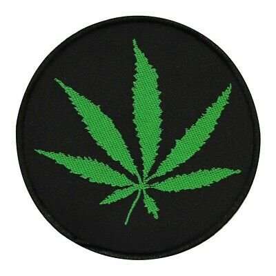 Pot Leaf Patch Weed Marijuana Hippie Stoner Toker Woven Sew-On Applique