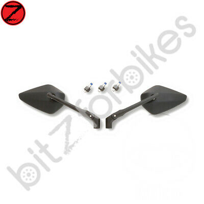 Pair of Motorcycle Diamond Shape Bar End Mirrors in Black See Picture