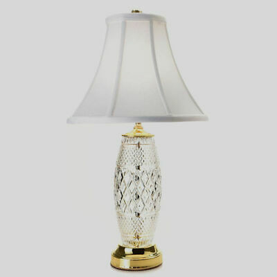 """Waterford Crystal Chelsea 22.5"""" Diamond & Wedge Cut Table Lamp w/ Cotton Shade"""
