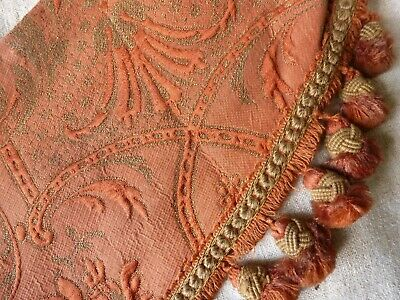 Pair Of Antique French Fabric Panels With Metallic Gold Thread And Edging.