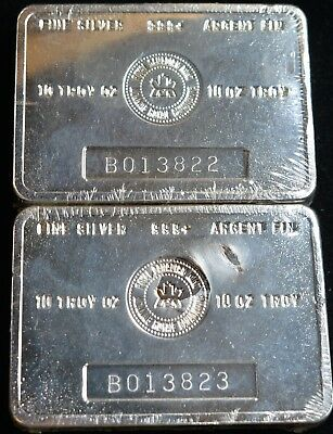 2 Vintage RCM Royal Canadian Mint 10 oz .999+ Silver Bar Sealed Consecutive S#