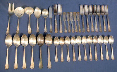 1847 Rogers Bros Heraldic 1916 International Silverplate 37 pc Flatware Set Mono