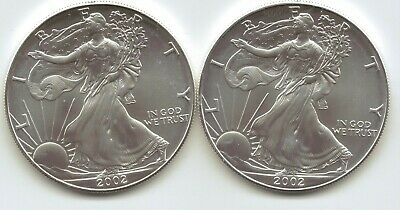 2-2002  Uncirculated American Silver Eagle  1-Troy oz. .999 Silver2