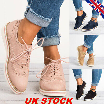 Womens Lace Up Brogues Flat Pumps Ladies Casual Work Smart Loafers Shoes Size UK