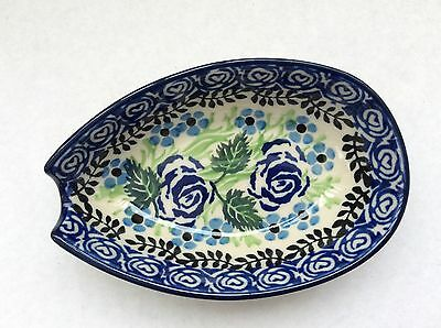 C.A. POLISH POTTERY SPOON REST -Blue Rose-NEW