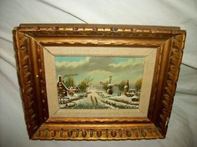 Vintage Holland Dutch Winter Scene Oil Painting Chippy Gilt Frame Mid Century