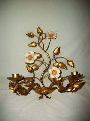 Antiques Italian Chic Tole Japan Gilt Candle Holder Pricket Shabby Mcm Hollywood Regency Less Expensive Toleware