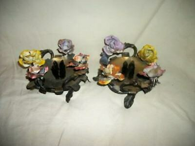 ITALIAN TOLE CANDLE HOLDERS Roses Iron Colorful Unique FRENCH Chic Shabby Spain