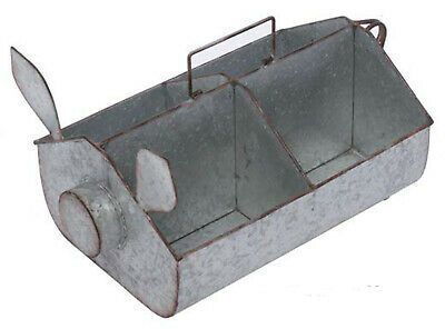 Galvanized Metal Pig Divided Container Basket Farmhouse Garden Country Home NEW
