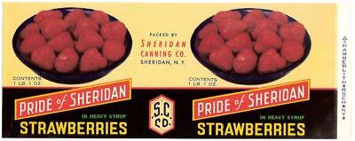 Wholesale Dealer Lot 100 Pride of Sheridan Strawberries Can Label Sheridan N.Y.