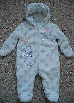 DISNEY Baby Boy/Girls Plush Fleece  Padded Hooded Pramsuit Winnie The Pooh 6-9mt