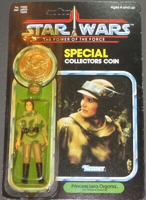 1984 Star Wars PRINCESS LEIA POTF Figure MOC Unpunched 92 Back w/ Coin-Vintage