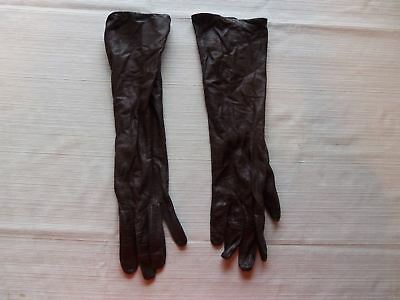 Vintage Viola Weinberger Black Leather Gloves Silk Lined Long Elbow France 6 1/2