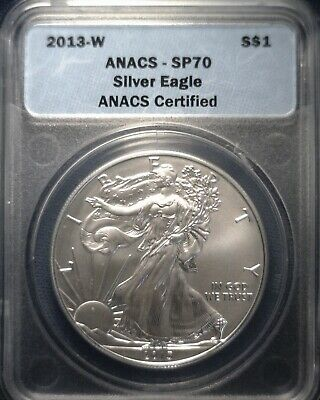 2013 W West Point Mint Burnished Silver Eagle ANACS SP70 Clearance