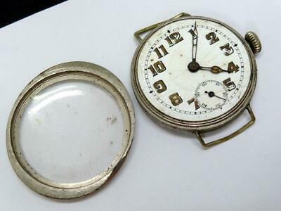 Antique TRENCHWATCH NICKEL PLATED BRASS CASE SWISS MADE NON RUNNER LOOSE BALANCE