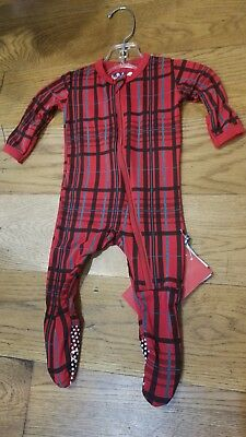 ee2584a538e3 NEW KICKEE PANTS Holiday Christmas Plaid bamboo footie w zipper