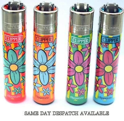 4 x Clipper Lighters HIPPY FLOWERS Gas Lighter RARE Refillable Regular Size NEW