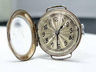 Vintage ART DECO SILVER TRENCH WATCH 15J PILOT MOVEMENT SWISS MADE Ca 1924 N/R