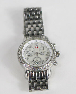 8c7964432 Ladies' Michele CSX 33 Chronograph Stainless Steel Diamond Wristwatch .54ctw