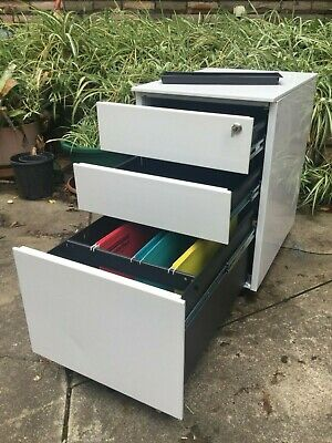 Filing Cabinet  Mobile Pedestal  -  WHITE -  3 dr w/KEY  -  gc  -  Comm Quality