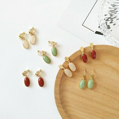 Vintage Women Colorful Stone No Piercing Clip on Ear Clip Earrings Jewelry Gifts