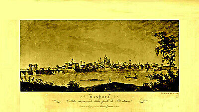 """Neo-Classical 1830's Antique! """"VIEW OF MANTOVA FROM THE LAKE OF MEZZO"""" Art Print"""