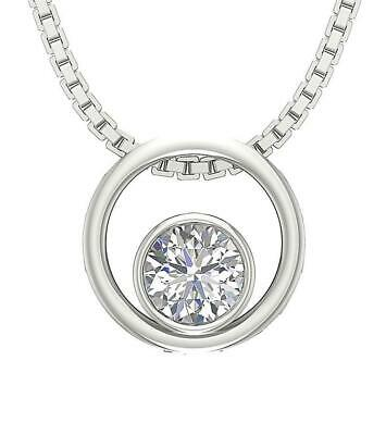 Circle Solitaire Pendant Necklace Round Cut Diamond I1 G 0.50 Ct 14K White Gold