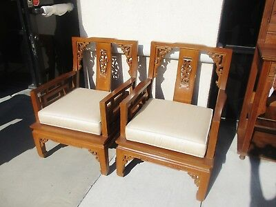 Pr Of Chinese Teak Wood Arm Chairs W/ Cushions Mid Century