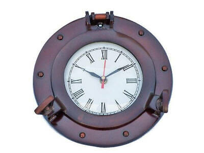 "Antique Copper Deluxe Class Porthole Clock 8"" - Nautical Wall Clock - Port Hole"