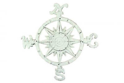 """Rustic Whitewashed Cast Iron Large Compass 19"""" - Navigation Compass - Nautical T"""