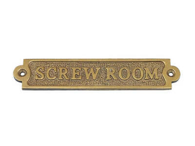 Antique Brass Screw Room Sign - Nautical Wall Decoration - Brass Sign