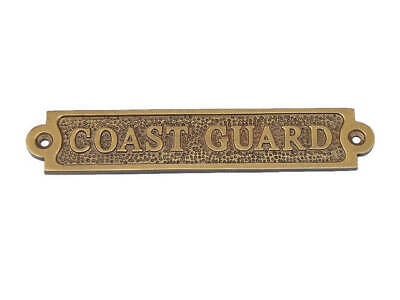 Antique Brass Coast Guard Sign - Vintage Coast Guard Sign - Nautical Sign