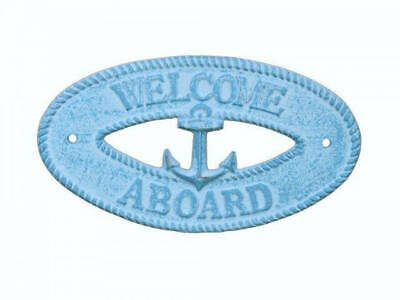 """Light Blue Whitewashed Cast Iron Welcome Aboard with Anchor Sign 8"""" - Decorative"""
