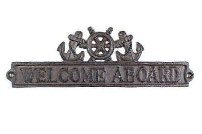 """Cast Iron Welcome Aboard Sign with Ship Wheel and Anchors 12"""" - Nautical Home De"""