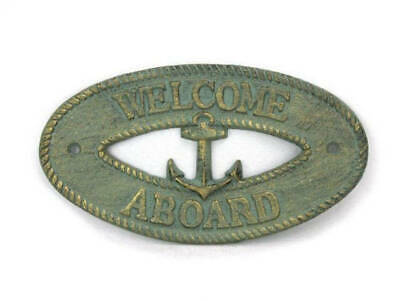 """Antique Bronze Cast Iron Welcome Aboard with Anchor Sign 8"""" - Decorative Metal W"""