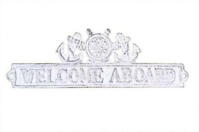 """Whitewashed Cast Iron Welcome Aboard Sign with Ship Wheel and Anchors 12"""" - Naut"""