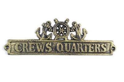 """Antique Gold Cast Iron Crews Quarters Sign with Ship Wheel and Anchors 12"""" - Nau"""