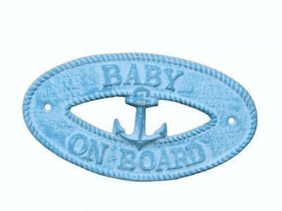 """Light Blue Whitewashed Cast Iron Baby on Board with Anchor Sign 8"""" - Decorative"""